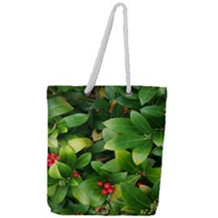 Christmas Season Floral Green Red Skimmia Flower Full Print Rope Handle Tote (large) by yoursparklingshop