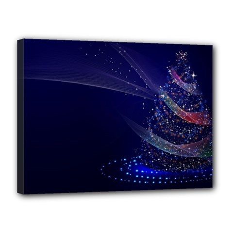 Christmas Tree Blue Stars Starry Night Lights Festive Elegant Canvas 16  X 12  by yoursparklingshop