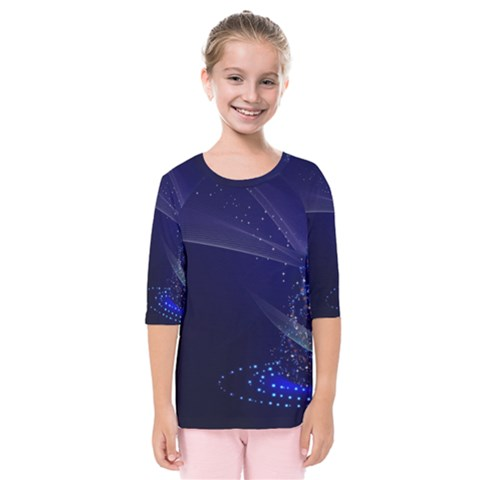 Christmas Tree Blue Stars Starry Night Lights Festive Elegant Kids  Quarter Sleeve Raglan Tee by yoursparklingshop