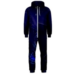 Christmas Tree Blue Stars Starry Night Lights Festive Elegant Hooded Jumpsuit (men)  by yoursparklingshop
