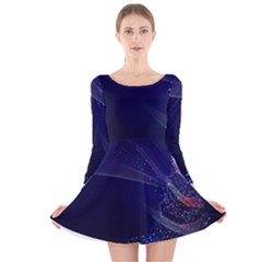 Christmas Tree Blue Stars Starry Night Lights Festive Elegant Long Sleeve Velvet Skater Dress by yoursparklingshop