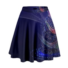 Christmas Tree Blue Stars Starry Night Lights Festive Elegant High Waist Skirt by yoursparklingshop