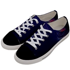 Christmas Tree Blue Stars Starry Night Lights Festive Elegant Women s Low Top Canvas Sneakers by yoursparklingshop