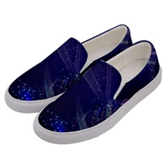 Christmas Tree Blue Stars Starry Night Lights Festive Elegant Men s Canvas Slip Ons by yoursparklingshop