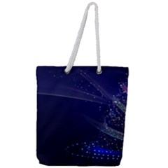 Christmas Tree Blue Stars Starry Night Lights Festive Elegant Full Print Rope Handle Tote (large) by yoursparklingshop