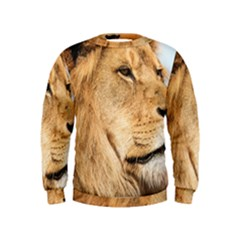 Big Male Lion Looking Right Kids  Sweatshirt by Ucco