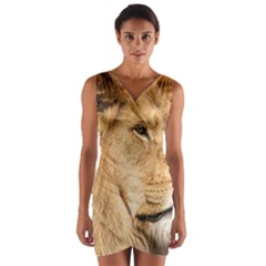 Big Male Lion Looking Right Wrap Front Bodycon Dress