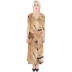 Big Male Lion Looking Right Quarter Sleeve Wrap Maxi Dress