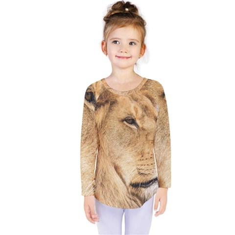 Big Male Lion Looking Right Kids  Long Sleeve Tee by Ucco