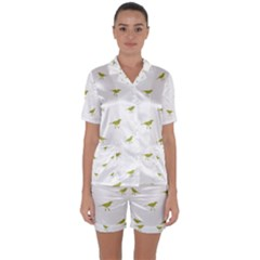 Birds Motif Pattern Satin Short Sleeve Pyjamas Set by dflcprints