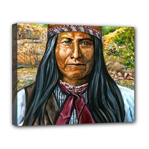 Apache Tribe Warrior Chiricahua Apache Tribe Deluxe Canvas 20  X 16   by allthingseveryone