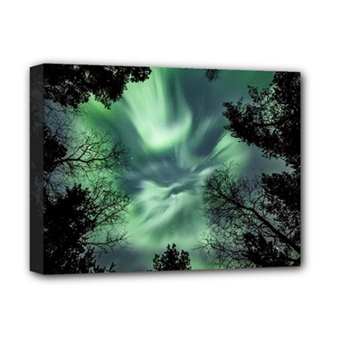 Northern Lights In The Forest Deluxe Canvas 16  X 12