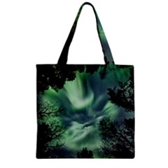 Northern Lights In The Forest Zipper Grocery Tote Bag by Ucco