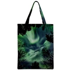 Northern Lights In The Forest Zipper Classic Tote Bag by Ucco