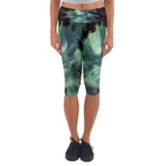 Northern Lights In The Forest Capri Yoga Leggings by Ucco
