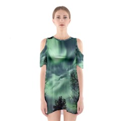Northern Lights In The Forest Shoulder Cutout One Piece