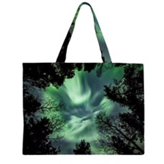 Northern Lights In The Forest Zipper Large Tote Bag