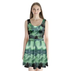 Northern Lights In The Forest Split Back Mini Dress