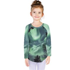 Northern Lights In The Forest Kids  Long Sleeve Tee