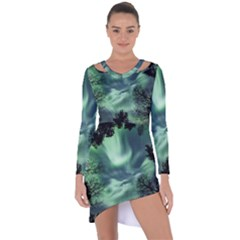 Northern Lights In The Forest Asymmetric Cut-out Shift Dress