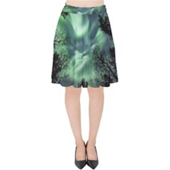 Northern Lights In The Forest Velvet High Waist Skirt by Ucco