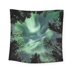 Northern Lights In The Forest Square Tapestry (small) by Ucco