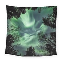 Northern Lights In The Forest Square Tapestry (large) by Ucco