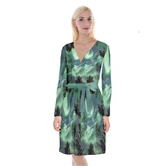 Northern Lights In The Forest Long Sleeve Velvet Front Wrap Dress