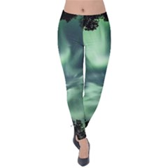 Northern Lights In The Forest Velvet Leggings