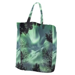 Northern Lights In The Forest Giant Grocery Zipper Tote by Ucco