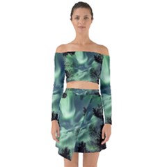Northern Lights In The Forest Off Shoulder Top With Skirt Set by Ucco