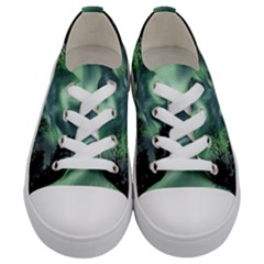 Northern Lights In The Forest Kids  Low Top Canvas Sneakers