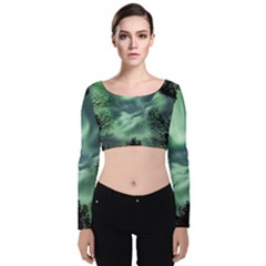 Northern Lights In The Forest Velvet Long Sleeve Crop Top by Ucco