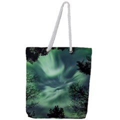 Northern Lights In The Forest Full Print Rope Handle Tote (large) by Ucco