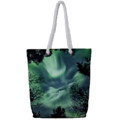 Northern Lights In The Forest Full Print Rope Handle Bag (small) by Ucco