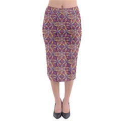 Flower Kaleidoscope 2 01 Midi Pencil Skirt by Cveti