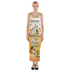 Happy Thanksgiving With Pumpkin Fitted Maxi Dress