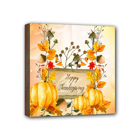 Happy Thanksgiving With Pumpkin Mini Canvas 4  X 4  by FantasyWorld7