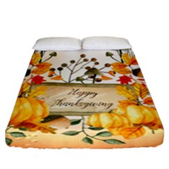 Happy Thanksgiving With Pumpkin Fitted Sheet (king Size) by FantasyWorld7