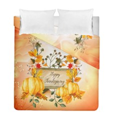 Happy Thanksgiving With Pumpkin Duvet Cover Double Side (full/ Double Size) by FantasyWorld7