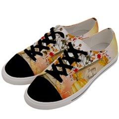Happy Thanksgiving With Pumpkin Men s Low Top Canvas Sneakers by FantasyWorld7