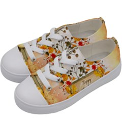 Happy Thanksgiving With Pumpkin Kids  Low Top Canvas Sneakers by FantasyWorld7