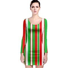 Christmas Holiday Stripes Red Long Sleeve Bodycon Dress by Celenk