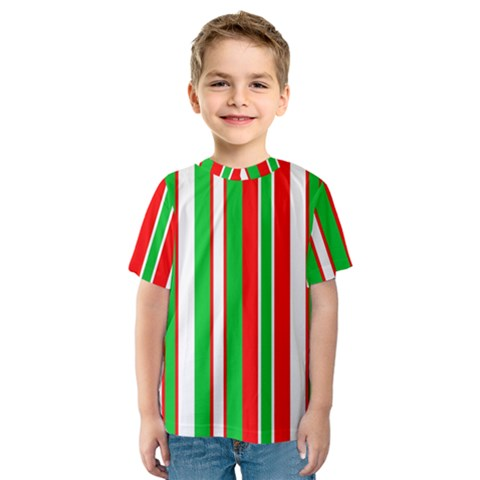 Christmas Holiday Stripes Red Kids  Sport Mesh Tee by Celenk