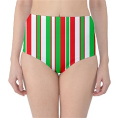 Christmas Holiday Stripes Red High Waist Bikini Bottoms by Celenk