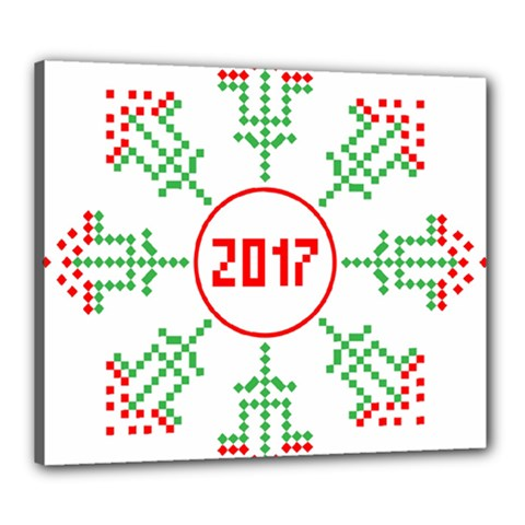 Snowflake Graphics Date Year Canvas 24  X 20  by Celenk