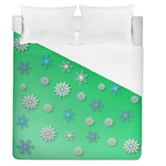 Snowflakes Winter Christmas Overlay Duvet Cover (queen Size) by Celenk