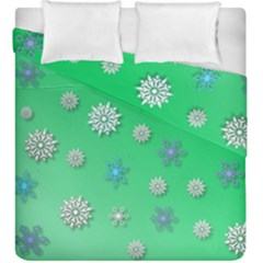 Snowflakes Winter Christmas Overlay Duvet Cover Double Side (king Size) by Celenk