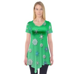 Snowflakes Winter Christmas Overlay Short Sleeve Tunic