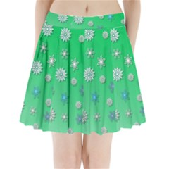 Snowflakes Winter Christmas Overlay Pleated Mini Skirt